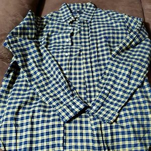 blue and yellow men's button up
